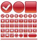 Iconos y botones - rojo del Web Fotos de archivo