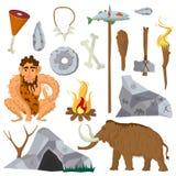 Iconos y caracteres del vector de la Edad de Piedra o del neanderthal fijados Foto de archivo