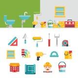 Iconos y ejemplos relacionados de la construcción Imagen de archivo libre de regalías
