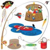 Iconos y elementos de la pesca libre illustration
