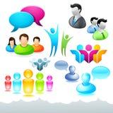 Iconos y elementos de la red de la gente stock de ilustración