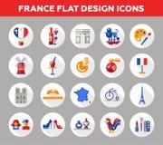 Iconos y elementos del viaje de Francia con símbolos franceses famosos Imagen de archivo