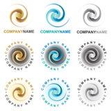 Iconos y elementos espirales del diseño de la insignia Fotos de archivo libres de regalías