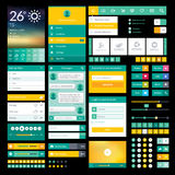 Iconos y elementos planos para el app móvil y el DES del web Foto de archivo