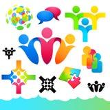 Iconos y elementos sociales de la gente Imagen de archivo