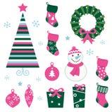 Iconos y elementos (verde, contacto de la historieta de la Navidad Fotos de archivo