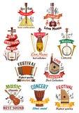 Iconos y emblemas de los instrumentos musicales Imágenes de archivo libres de regalías