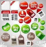 Iconos y escrituras de la etiqueta de la venta stock de ilustración