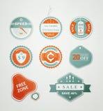 Iconos y escrituras de la etiqueta para la venta