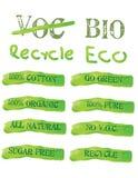 Iconos y escrituras de la etiqueta verdes de la ecología Fotografía de archivo