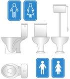 Iconos y esquema del WC Imágenes de archivo libres de regalías