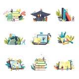 Iconos y estudio de la educación que aprenden a gente del vector ilustración del vector
