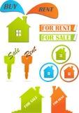Iconos y etiquetas engomadas para las propiedades inmobiliarias Fotos de archivo