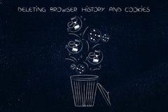 iconos y galletas del reloj de arena de la historia del navegador que terminan para arriba en el compartimiento Imágenes de archivo libres de regalías