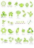 Iconos y gráficos verdes stock de ilustración
