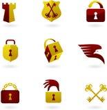 Iconos y logotipos de la seguridad Imágenes de archivo libres de regalías