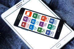 Iconos y logotipos del Microsoft Office Fotografía de archivo