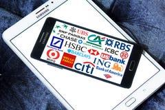 Iconos y logotipos globales de los bancos Imágenes de archivo libres de regalías