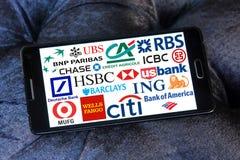 Iconos y logotipos globales de los bancos Fotos de archivo libres de regalías