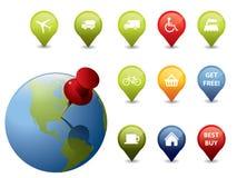 Iconos y muestras del GPS Imagenes de archivo