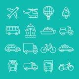 Iconos y muestras del transporte del vector Fotografía de archivo