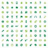Iconos y muestras verdes Fotografía de archivo libre de regalías