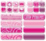 Iconos y princesa de los botones pequeña Foto de archivo libre de regalías