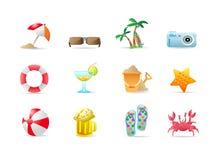 Iconos y productos de la playa Stock de ilustración