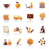 Iconos y símbolos de la educación Fotos de archivo libres de regalías