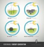 Iconos y símbolos de la generación de la energía renovable ilustración del vector