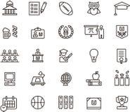 Iconos y símbolos de la universidad Imágenes de archivo libres de regalías