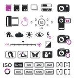 Iconos y símbolos de la visualización de la cámara Imágenes de archivo libres de regalías