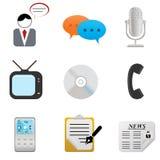 Iconos y símbolos de los media Imagen de archivo