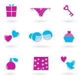 Iconos y símbolos del día del amor y de tarjeta del día de San Valentín Fotos de archivo libres de regalías