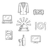 Iconos y símbolos del servicio de hotel de lujo Imágenes de archivo libres de regalías