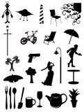 Iconos y símbolos diarios de los items Imagenes de archivo
