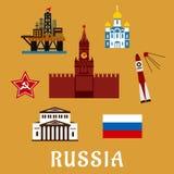 Iconos y símbolos planos rusos del viaje Foto de archivo libre de regalías