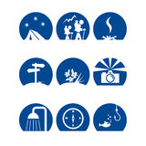 Iconoscamp1. Various symbols for camping and hiking Stock Images