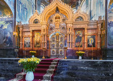 Iconostas在救主,圣彼得教会里溢出的血液的 库存图片