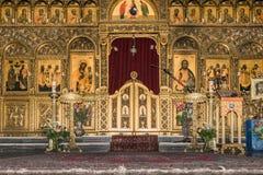 Iconostase dans la cathédrale de Melkite images stock