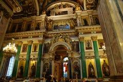 Iconostasio en la catedral del St Isaac, St Petersburg Rusia Imagen de archivo libre de regalías