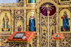 Iconostasis and altar of Russian Orthodox cathedral hall. Belgorod, Russia - May 20, 2017: Iconostasis and altar of Russian Orthodox cathedral`s hall in honor of Royalty Free Stock Photo