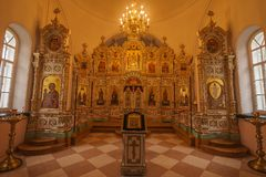 The iconostasis of the Church of the Resurrection on the island of Valaam, Republic of Karelia Stock Images