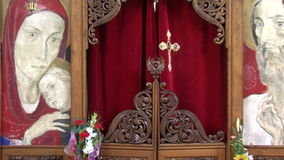 The iconostasis in the church of St. Petka in Rupite, Bulgaria. Temple of Saint Petka built Vanga Bulgarias tourist attractions, a place of pilgrimage for fans stock video