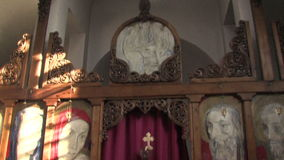 The iconostasis of the church of St. Petka in Rupite, Bulgaria stock video footage