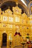 Iconostasis in der orthodoxen Kirche Stockfotos