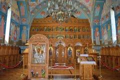 Iconostasis en pictogrammen van orthodox klooster Stock Fotografie