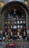 Iconostasis i den rumänska ortodoxa kyrkan, Bucharest, Rumänien Arkivfoton