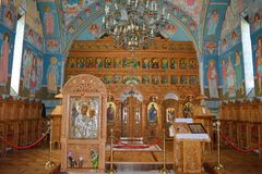 Iconostasis and icons of orthodox monastery. Inside view of orthodox Brancoveanu monastery at Sambata de Sus, Romania, with Iconostasis and icons Stock Photography