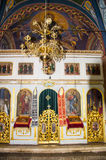 Iconostasis im Tempel im Kloster Rezevici in Montenegro Stockfotos